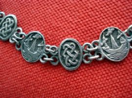 Vintage Sterling Silver Panel Bracelet with Celtic Knot and Ship Design